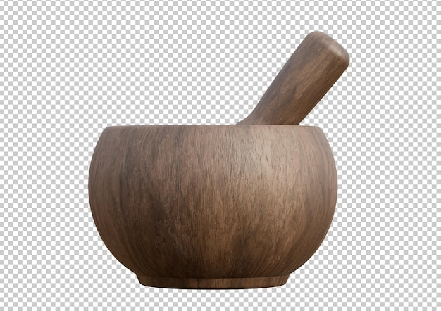 Empty handmade wooden mortar isolated