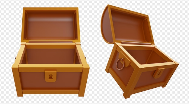 Empty opened treasure chest box with gold and brown color isolated