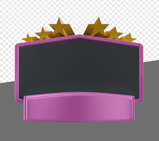 Пустая или пустая фиолетовая эмблема или баннер с изолированной 3d иллюстрацией золотой звезды