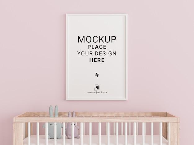 Empty photo frame for mockup in children room