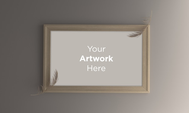 Empty photo frame mockup design with brown leaves