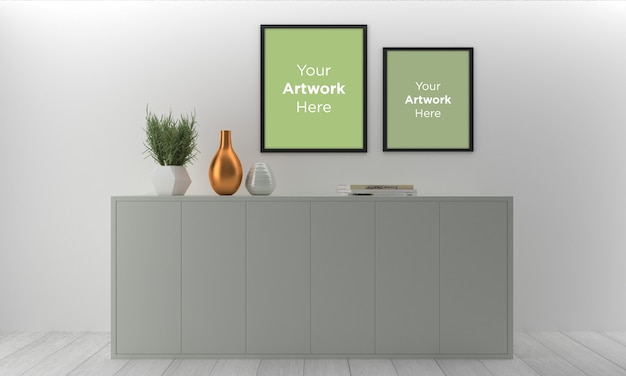 Empty photo frame mockup design with cabinet in interior