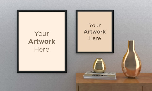 Empty photo frame mockup design with golden vases