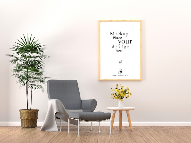 Empty photo frame for mockup in living room