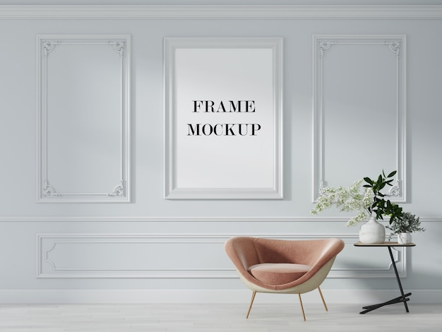 Empty picture frame in classic style interior 3d rendering mockup