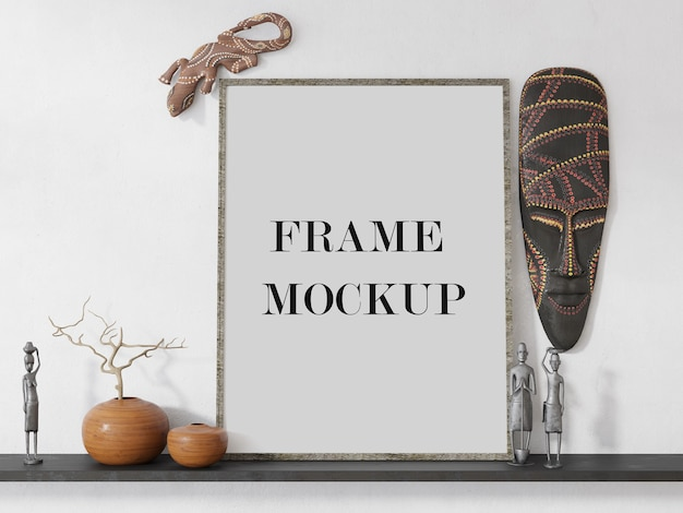 Empty picture frame surrounded by african interior accessories