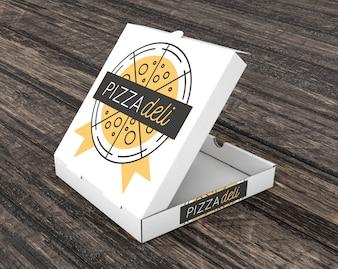 Empty pizza carton mockup