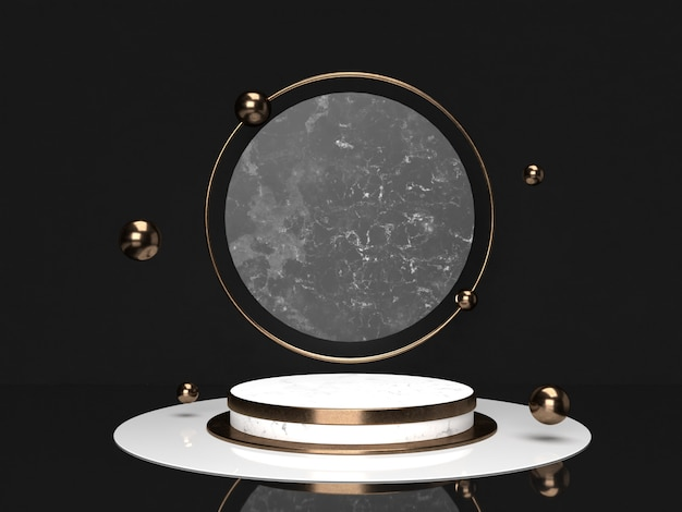 Empty podium marble black , white and copper on dark color background.3d rendering