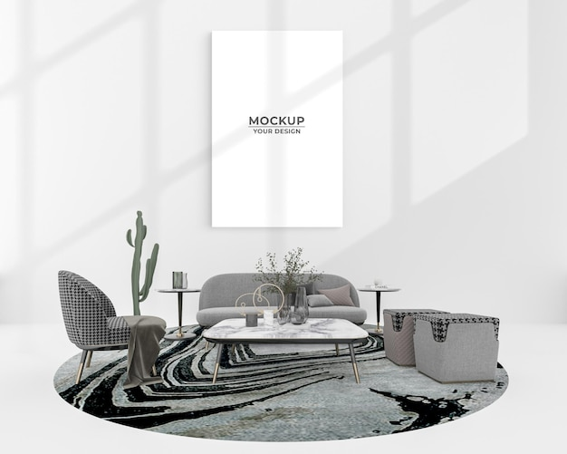 Empty poster mockup decoration near sofa and potted plant