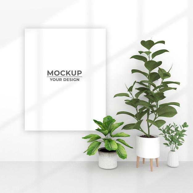 鉢植えの植物の近くの空のポスターのモックアップデザイン