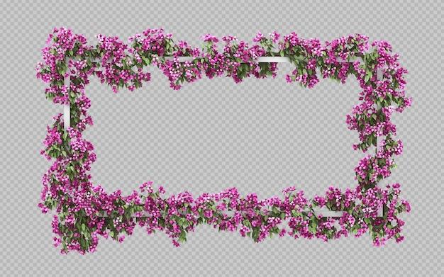 Пустая прямоугольная рамка с розовым бугенвиллеевым акварельным фильтром