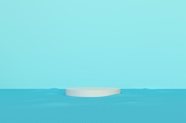 빈 방 인테리어 디자인, 최소한의 스타일로 바닥 배경에 빈 청록색 디스플레이