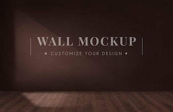 Empty room with a brown wall mockup