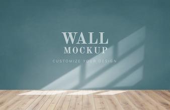 緑の壁のモックアップと空の部屋