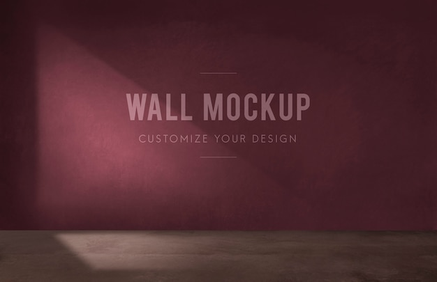 Empty room with a burgundy wall mockup