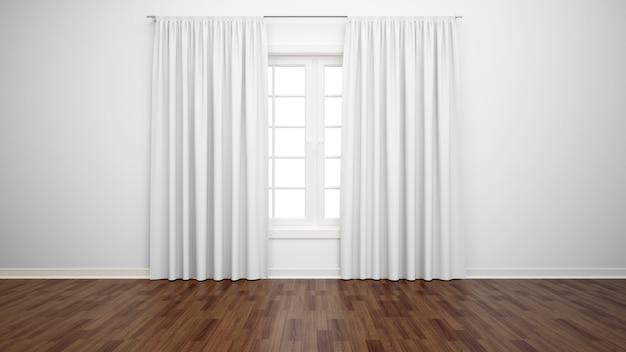 창과 흰색 커튼, 쪽모이 세공 마루가있는 빈 방
