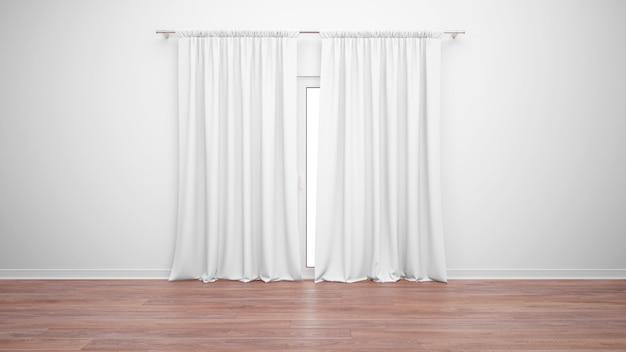 Stanza vuota con finestra e tende bianche, pavimento in parquet