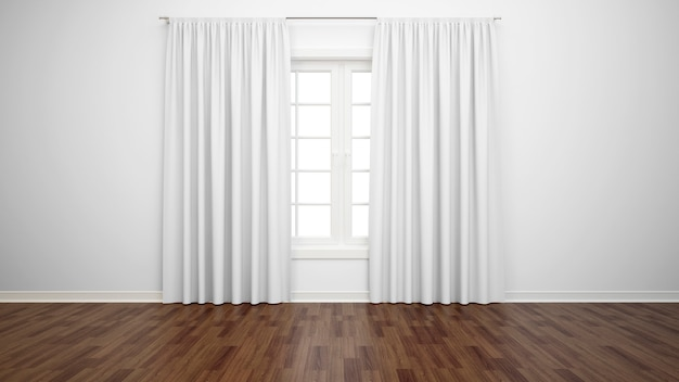 Empty room with window and white curtains, parquet floor