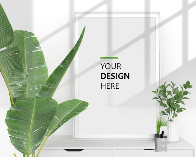 空の垂直ポスターアートデザインのモックアップ