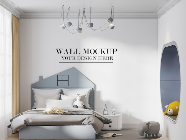 Empty wall background behind house shaped headboard bed