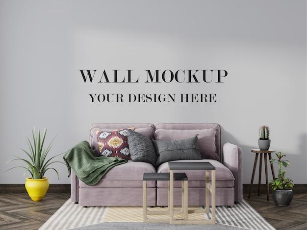Empty wall background mockup behind sofa