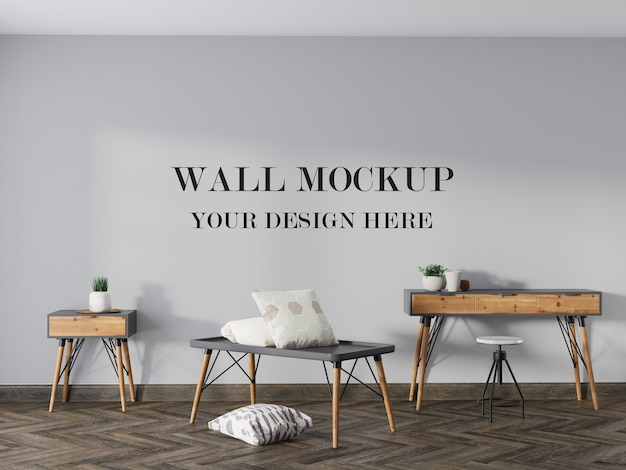 Empty wall background behind wooden console table
