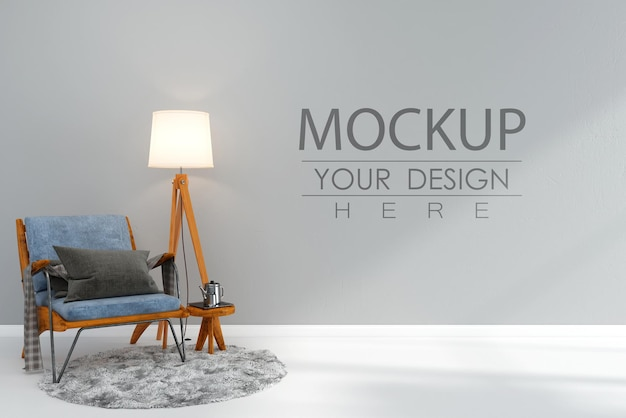 Empty wall interior furniture 3d  psd mockup