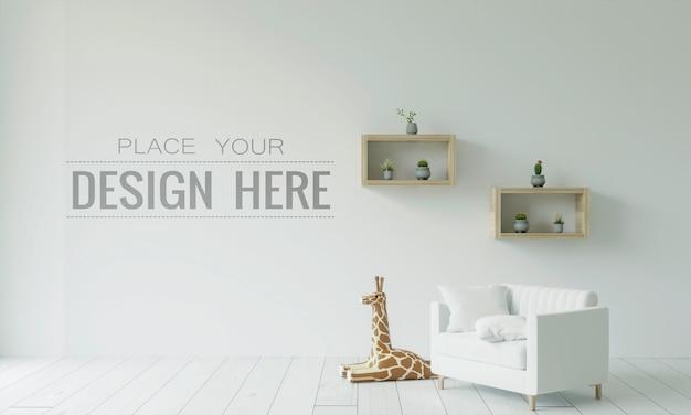 空の壁のインテリア家具3dpsdモックアップ