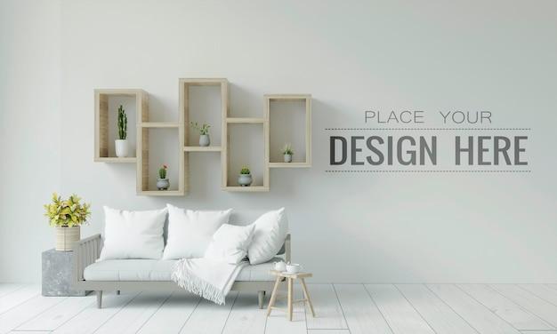 Empty wall interior furniture 3d  psd mockup