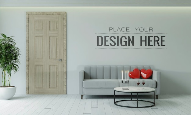 Empty wall interior furniture 3d