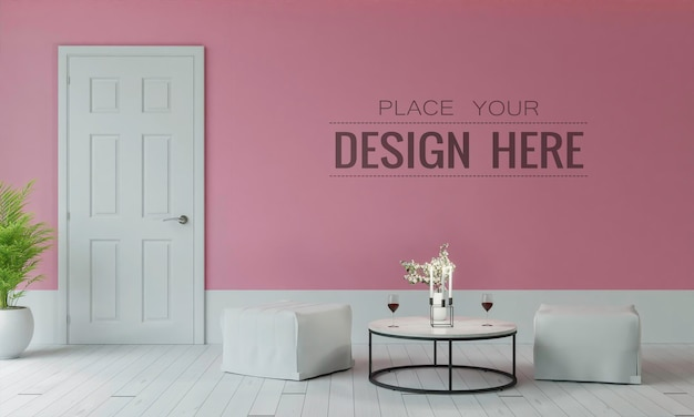 Empty wall interior furniture 3d Free Psd