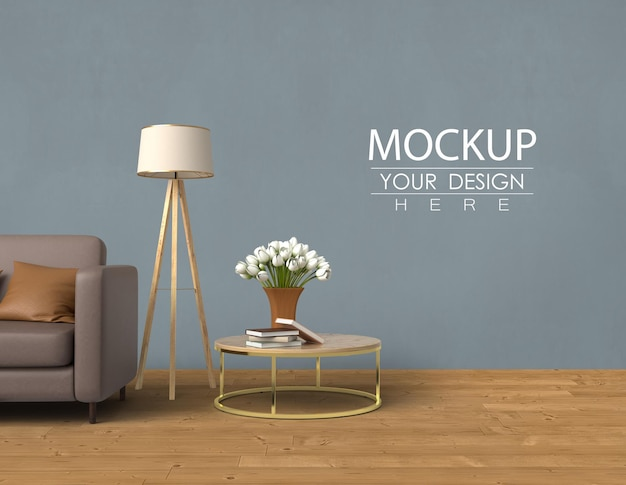 Empty wall mock up with home decorating in the living room modern interior. mockup ready to use