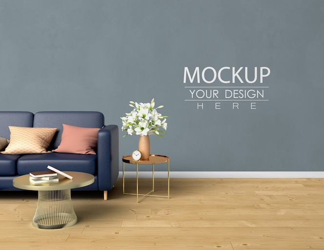 Empty wall mock up with home decorating in the living room modern interior.