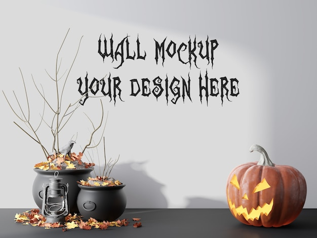Empty wall mockup for halloween day 3d render