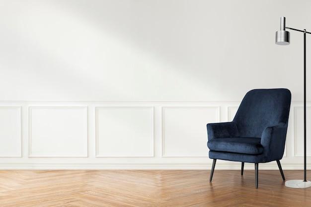 スカンジナビアのデザインのリビングルームの空の壁のモックアップpsd