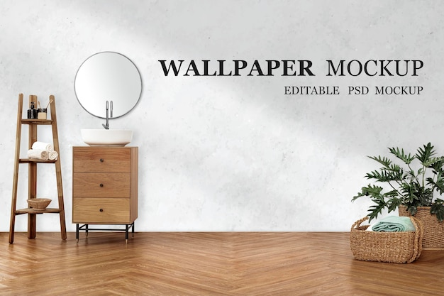 Empty wall mockup psd in the living room with japandi interior design