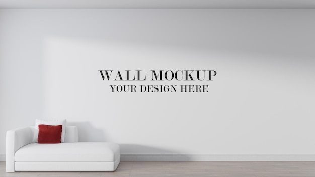 Empty wall mockup behind white couch