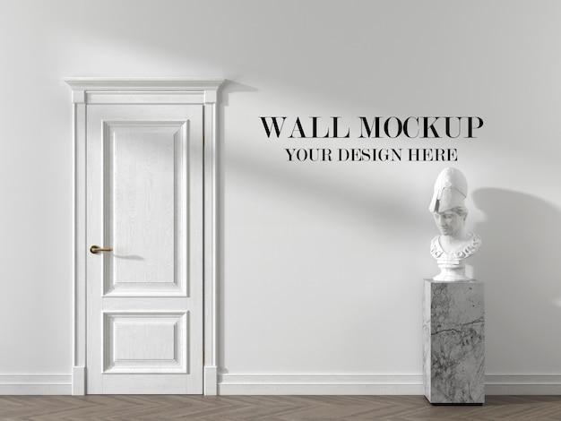 Макет пустой стены со скульптурой в интерьере