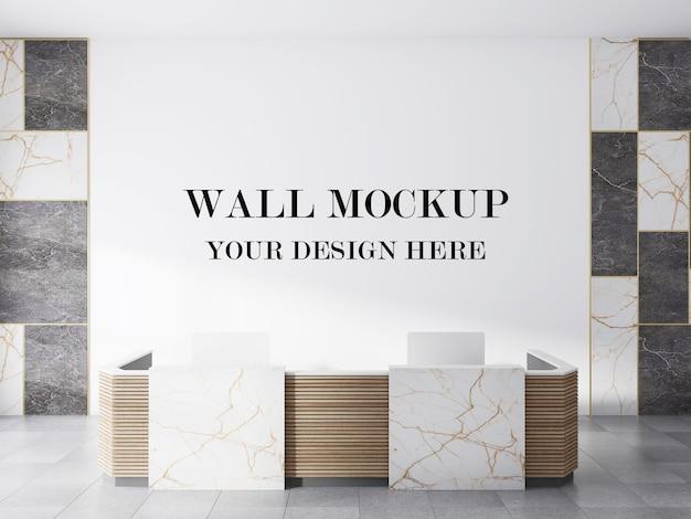 Пустая стена элегантного современного лобби с 3d-рендерингом