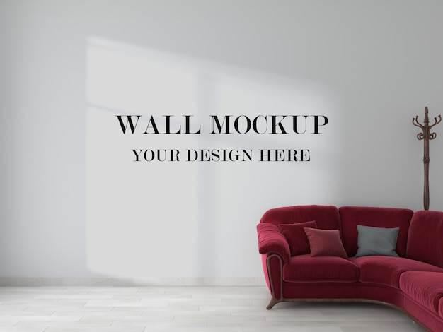 Empty wall behind red sofa in 3d rendering