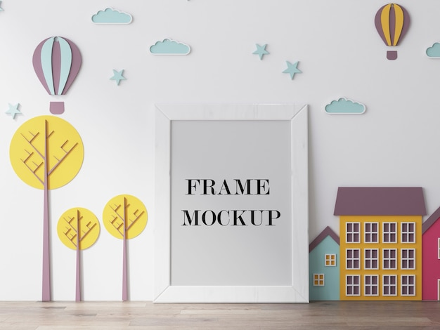 Empty white frame for kids photos 3d rendering mockup