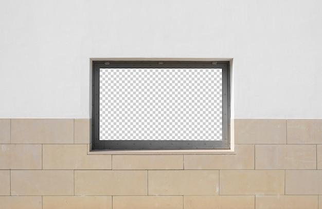 Empty window frame on a wall