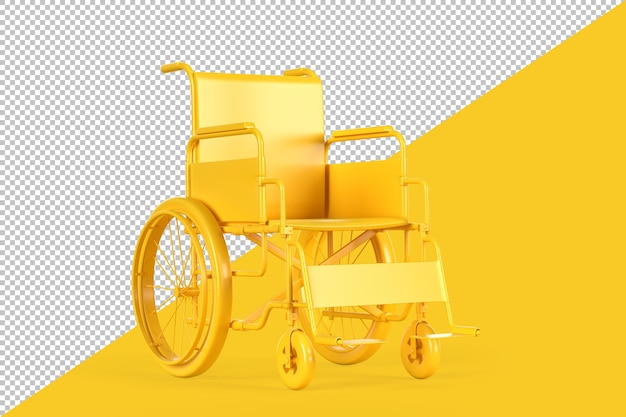 Empty yellow wheelchair rendering