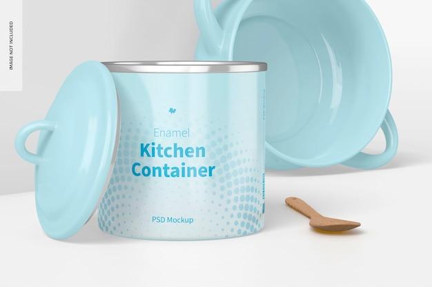Мокап эмалированного кухонного контейнера