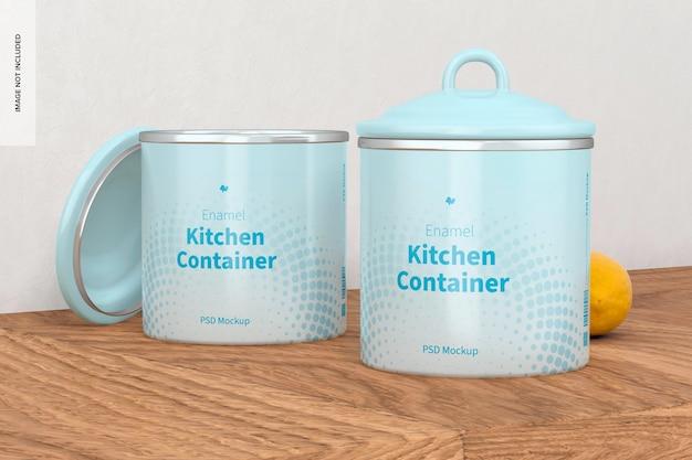 Макет эмалированных кухонных контейнеров, открытые и закрытые