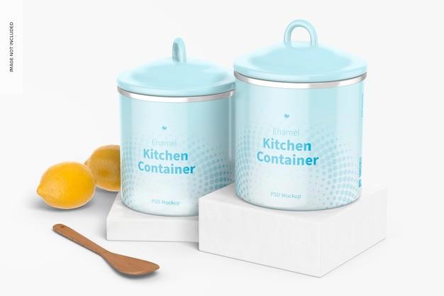Мокап эмалированных кухонных контейнеров