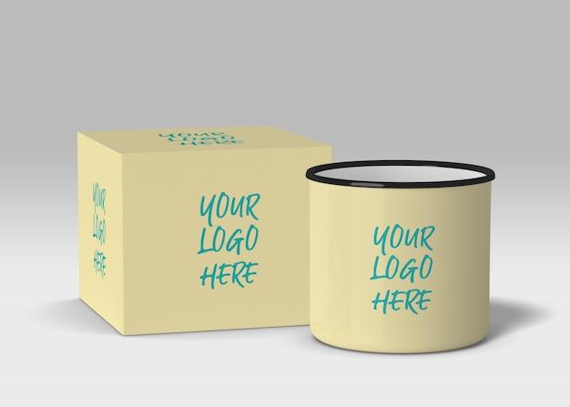 Enamel mug with box mockup
