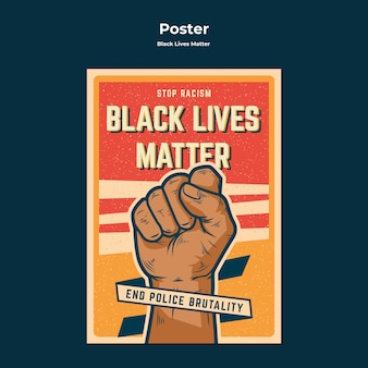 End police brutality no racism poster template