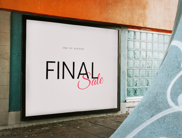 Mockup di scheda di vendita finale di fine stagione