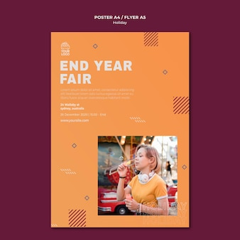 End year fair holiday poster print template